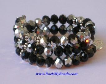 Black/Gray Crystal Memory Wire Rosary Bracelet,rosary,religious bracelet,praying beads,wrap rosary,rosary beads,prayer beads,wrap bracelet