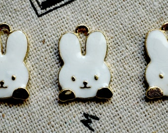 Rabbit charms 3 gold & white enamel pendant charm jewellery supplies C434