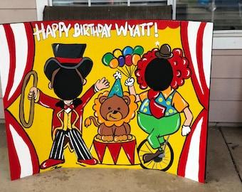 Circus Birthday- Circus Party- Circus Decoration- Circus Photo Prop- Circus Cutout- Ringmaster- Photo Op- Face in Hole- Clown Party- Big Top