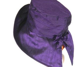 RAIN HAT None Laminate,  Purple Dupioni Silk  Womens Hat, PACKABLE Travel Hat
