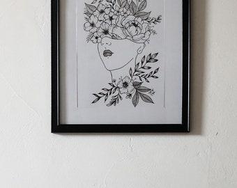 Framed Floral Head Print