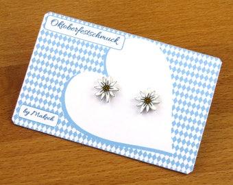 Mädchenschmuck Schmuck Oktoberfest Dirndl  Ohrstecker Ohrringe Edelweiß Silber 925