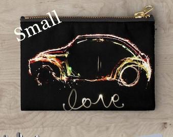 Car zipper bag, punch buggy, car print, coin pouch, travel bag, makeup bag, coin purse, zipper bag, zipper pouch, printed pouch, beetle bug