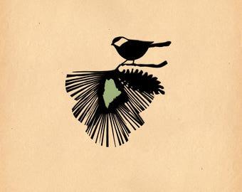 Maine State Bird & Flower - Print of Original Papercut