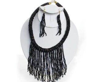 Handmade  Black Maasai Fringe Choker & Earrings