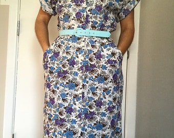 80s Floral Shirt Waist Dress with Fitted Skirt