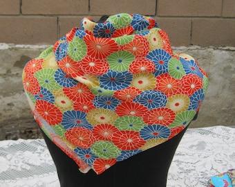Japanese Chirimen Crepe Silk Scarf, Vintage Silk Kimono Fabric