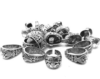 Carved bail, silver, 1, 5 cm, set of 15 Pcs