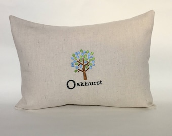 Custom Embroidered Tree Pillow Cover 12x16