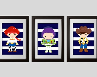 toy story wall decor prints, toy story bedroom decor toy story inspired buzz woody and jesse, wall art prints, set of 3, shipped to you door