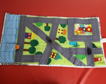 Organizer for cars, car play mat, car play mat, floor race track, race car track, road play mat, toy race track, toy car city streets