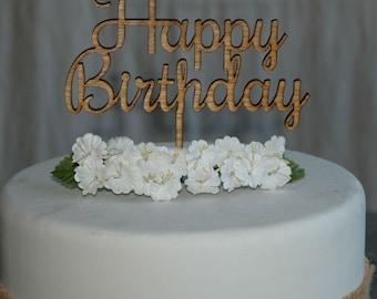 Rustic Wooden Happy Birthday Cake Topper, Party,  Celebration Cake Decor (Design 2)