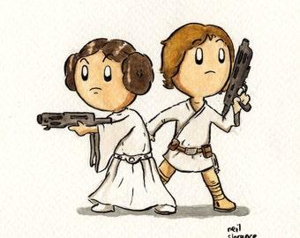 Luke and Leia - A4 Signed Print.