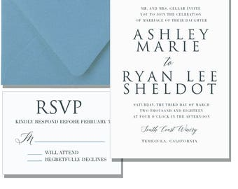 Ashley Letterpress Invitation Suite // Neutral // Light blue // Plain // wedding