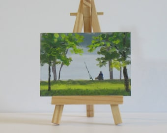 Original aceo, fishing art, small acrylic painting, plein air painting, artist trading cards