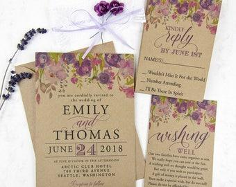 Floral Wedding Invitation Set with Lace & Purple Roses | Rustic Invitation, Custom Invitation Suite, Wedding Invitations, Kraft Invitation