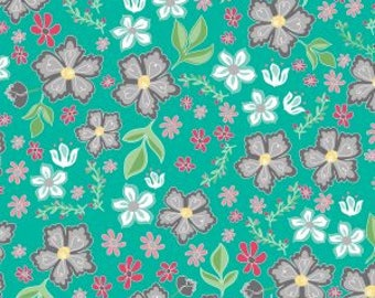 Flora and Fawn, Flora Main Teal cotton woven fabric by Riley Blake Designs