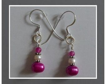 Purple Agate, Hot Pink & White FW Pearl Sterling Silver Earrings --  Gift Idea!