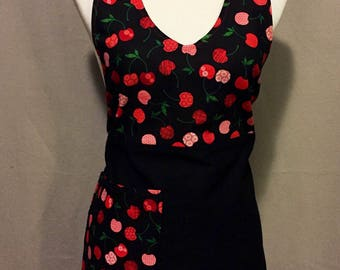 Cherry Apron / Apron / Black Apron / Black and Red Apron/ Cherry Print / Womens Apron