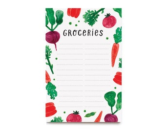 Veggie Grocery Notepad, 50 tear-off sheets, 4x6in, Watercolor Vegetables, Handlettered Groceries Notepad