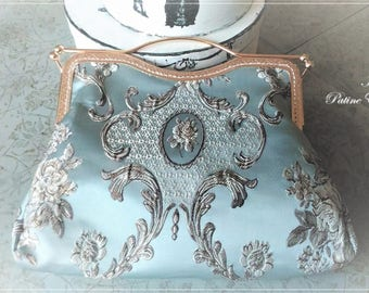 French shabby chic, romantic shabby blue purse