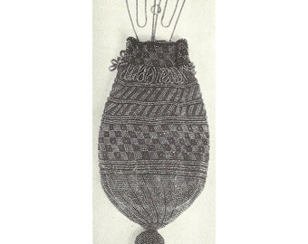 Antique Beaded Drawstring Purse / Bag Pattern, Beaded Reticule, Instant PDF Download