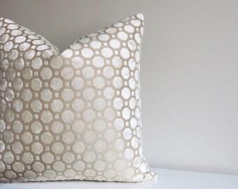 Off White Velvet Pillow Cover, Ivory Pillow, Decorative Pillow, Modern Pillow, Geometric, Throw Pillow, neutral, winter white, pearl geo