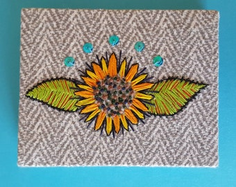 Sunflower // Hand embroidered wall art 4x5""