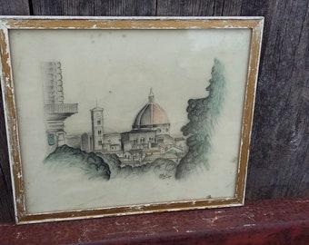 Original Vintage Pencil Sketch of a Mosque