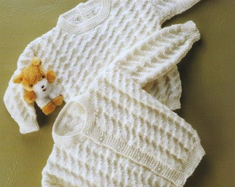 Baby Knitting Pattern Textured Sweater & Cardigan pdf