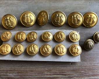 Vintage military brass buttons lot US Army band lyre superior quality 2 tin back