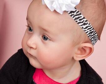 Zebra Baby Bow - Animal Print Baby Headband -  Baby Photo Prop - Baby Hairbows - Newborn Headband - Infant Headband