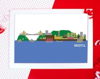 Cityscapes Print - Bristol Print - Bristol Skyline Wall Art - Graphic Print of Bristol - Holiday Souvenir