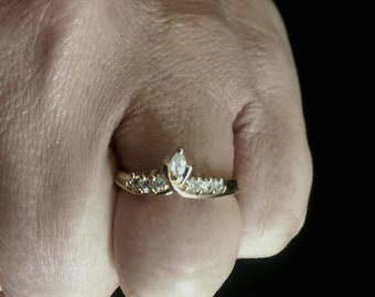 Promise ring -gold plated rhinestones