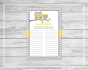 Owl Baby Shower Baby ABCs Game - Printable Baby Shower Baby ABCs Game - Yellow Owl Baby Shower - Baby ABCs Game - Owl Shower Game - SP133