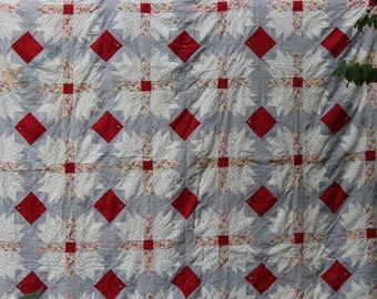 Vintage Handmade Quilt Grey and Red Feedsack Tulip Starburst Vintage Quilt