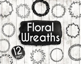 Floral Wreath Clipart - Hand Drawn Floral Clipart - Floral Logo Art - Floral Logo Elements - Floral Clip Art - Floral Illustration -ACGABW10