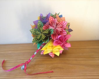 Origami kusudama paper flower bouquet Spots and stripes bouquet