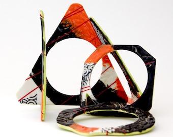 Big Ceramic Bangle Bracelet  - contemporary jewelry, big bracelet, oversized bangle, ceramic jewelry, statement jewelry