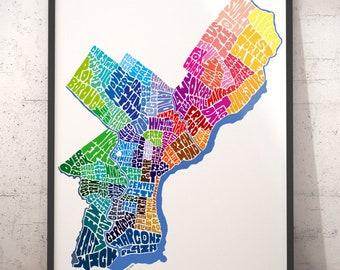 Philadelphia art print, Philadelphia map art, Philadelphia typography map, map of Philadelphia, Philadelphia neighborhood map downtown