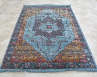 Vintage Distressed Antique Modern Multi-Colour Carpet Blue Faded Rug