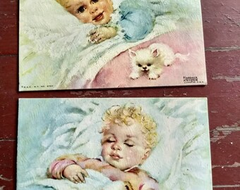 Set of two vintage Florence Kroger 1950s lithograph baby nursery prints