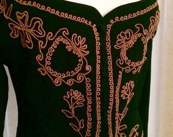 Vintage 70's Designer ZELDA Bolero Jacket, Black w/ Soutache Design, Long Sleeve Size Small/Med