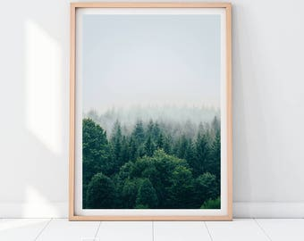 Forest Downloadable Prints Mist Fog Prints Color Photography Modern Wall Art Decor Mountains Trees Poster Green Tree Print Woods Boho