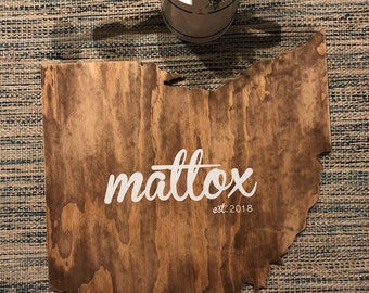 CUSTOM Jumbo Ohio Cut Out Guestbook or Wall Sign