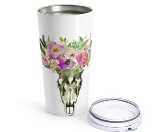 Tumbler 20Oz: Floral Skull Pastels
