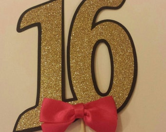 Sweet 16 Sixteen Birthday Party Cake Topper You choose colors