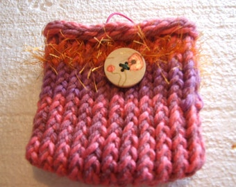PInks, orange  Lavender mixed fiber art Mini  Bag