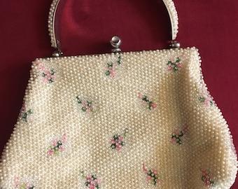 Beautiful Vintage 1940s Ivory Beaded Handbag Floral