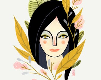 Vivian - Fine Art Print 11x14 - Girl - Portrait - Wall Art - Home Decor - BFF - Floral - Gift - Sisters - Botanical - Feminine - Her